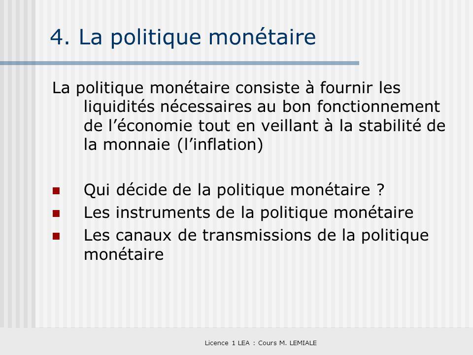 Licence 1 LEA : Cours M. LEMIALE 4. La politique monétaire La politique monétaire consiste à fournir les liquidités nécessaires au bon fonctionnement