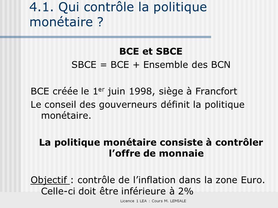 Licence 1 LEA : Cours M. LEMIALE 4.1. Qui contrôle la politique monétaire ? BCE et SBCE SBCE = BCE + Ensemble des BCN BCE créée le 1 er juin 1998, siè