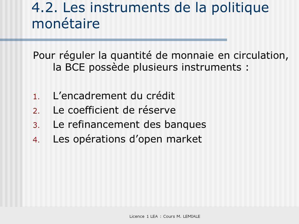 Licence 1 LEA : Cours M. LEMIALE 4.2. Les instruments de la politique monétaire Pour réguler la quantité de monnaie en circulation, la BCE possède plu
