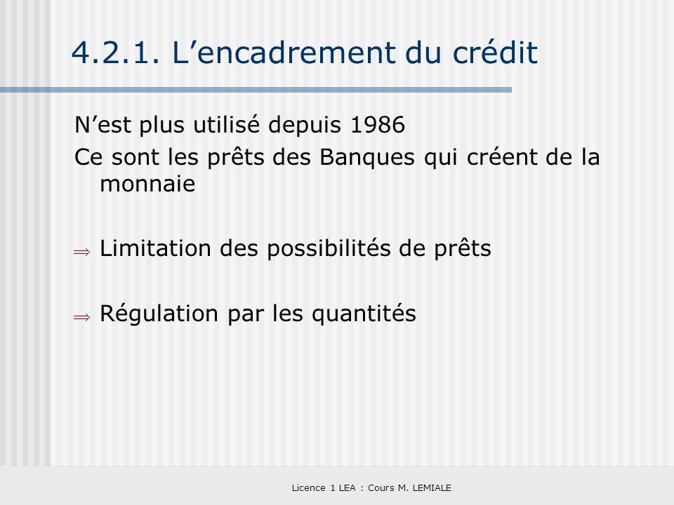 Licence 1 LEA : Cours M. LEMIALE 4.2.1. Lencadrement du crédit Nest plus utilisé depuis 1986 Ce sont les prêts des Banques qui créent de la monnaie Li