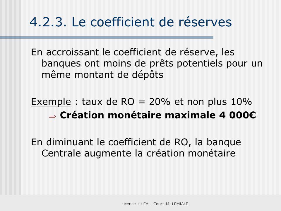 Licence 1 LEA : Cours M. LEMIALE 4.2.3. Le coefficient de réserves En accroissant le coefficient de réserve, les banques ont moins de prêts potentiels