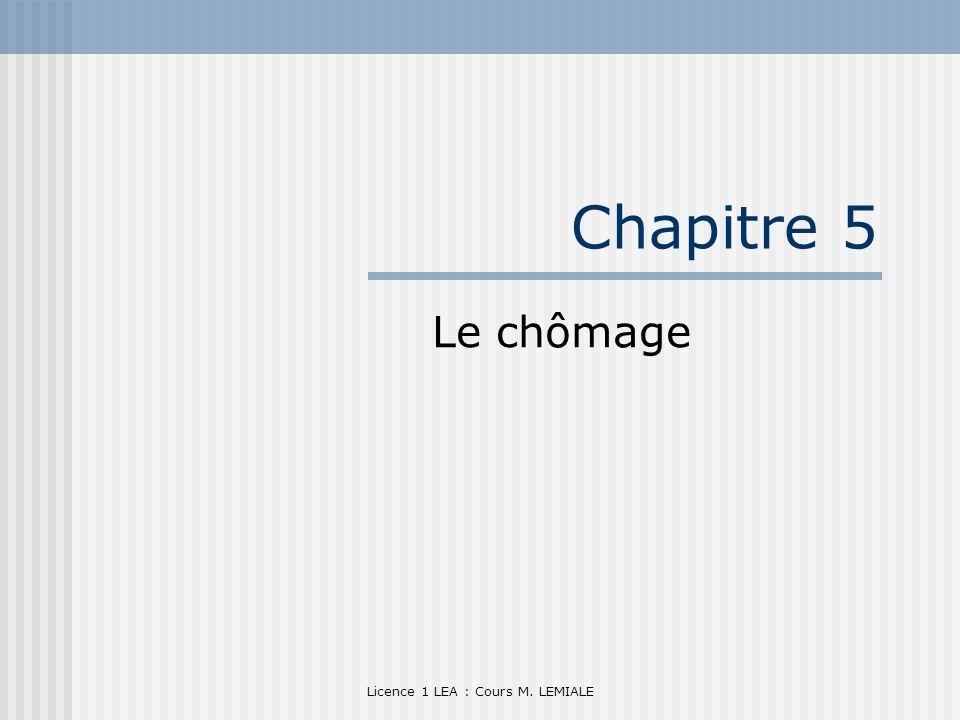 Licence 1 LEA : Cours M. LEMIALE Chapitre 5 Le chômage