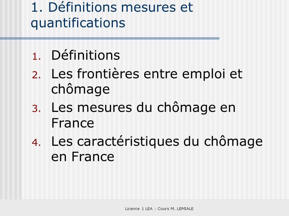 Licence 1 LEA : Cours M. LEMIALE 1. Définitions mesures et quantifications 1. Définitions 2. Les frontières entre emploi et chômage 3. Les mesures du