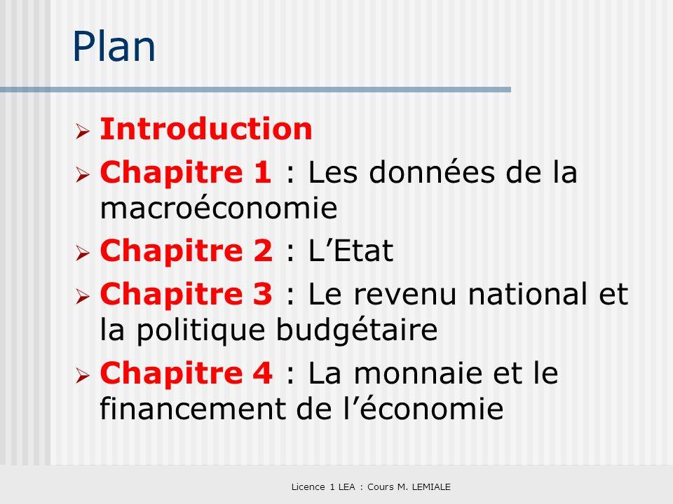 Licence 1 LEA : Cours M. LEMIALE Plan Introduction Chapitre 1 : Les données de la macroéconomie Chapitre 2 : LEtat Chapitre 3 : Le revenu national et
