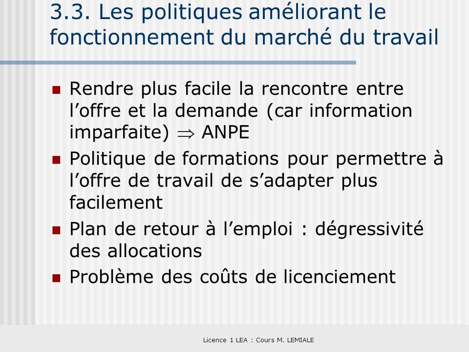Licence 1 LEA : Cours M. LEMIALE 3.3. Les politiques améliorant le fonctionnement du marché du travail Rendre plus facile la rencontre entre loffre et