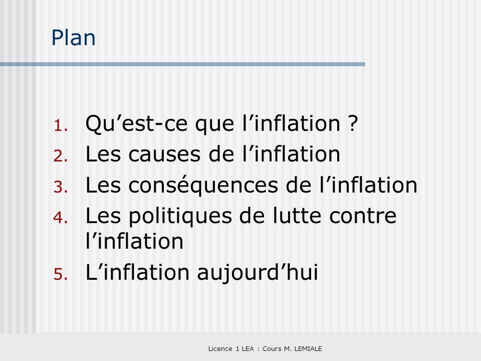 Licence 1 LEA : Cours M. LEMIALE Plan 1. Quest-ce que linflation ? 2. Les causes de linflation 3. Les conséquences de linflation 4. Les politiques de