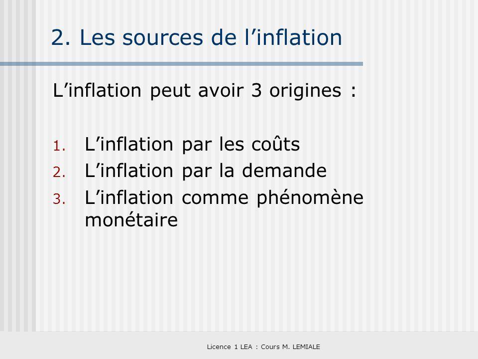 Licence 1 LEA : Cours M. LEMIALE 2. Les sources de linflation Linflation peut avoir 3 origines : 1. Linflation par les coûts 2. Linflation par la dema