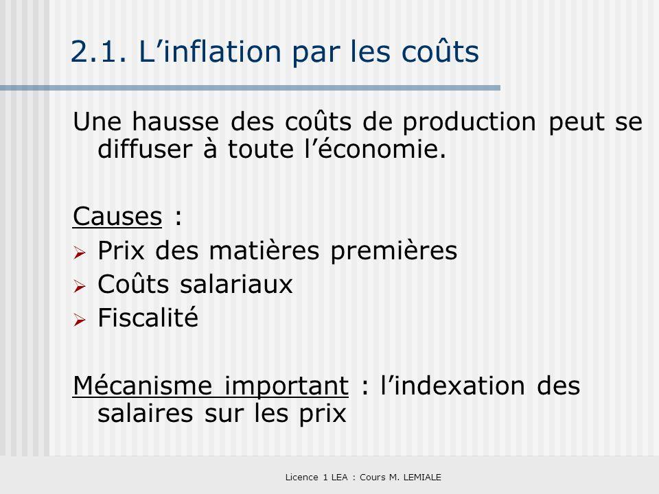 Licence 1 LEA : Cours M. LEMIALE 2.1. Linflation par les coûts Une hausse des coûts de production peut se diffuser à toute léconomie. Causes : Prix de