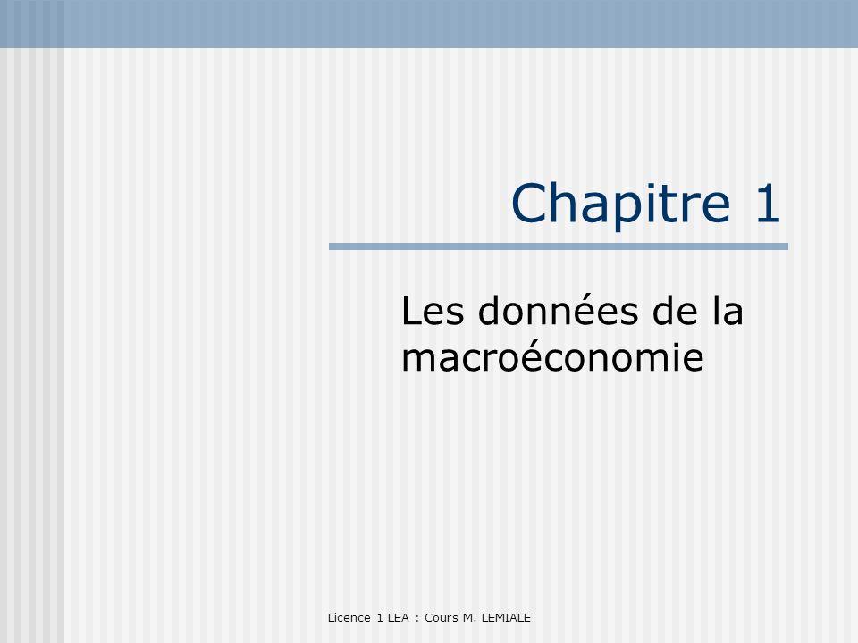 Licence 1 LEA : Cours M. LEMIALE Chapitre 1 Les données de la macroéconomie