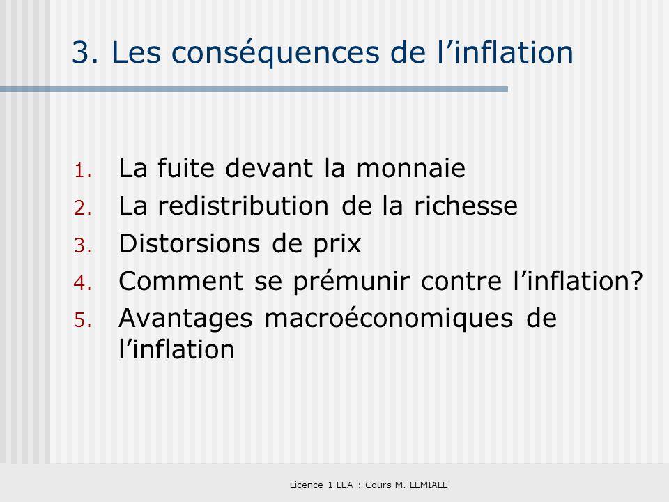 Licence 1 LEA : Cours M. LEMIALE 3. Les conséquences de linflation 1. La fuite devant la monnaie 2. La redistribution de la richesse 3. Distorsions de