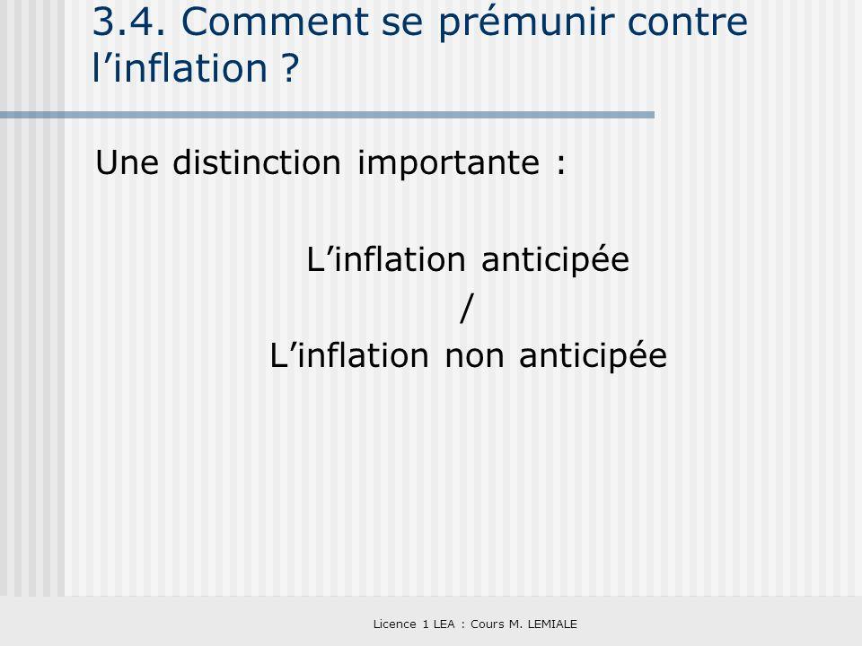 Licence 1 LEA : Cours M. LEMIALE 3.4. Comment se prémunir contre linflation ? Une distinction importante : Linflation anticipée / Linflation non antic