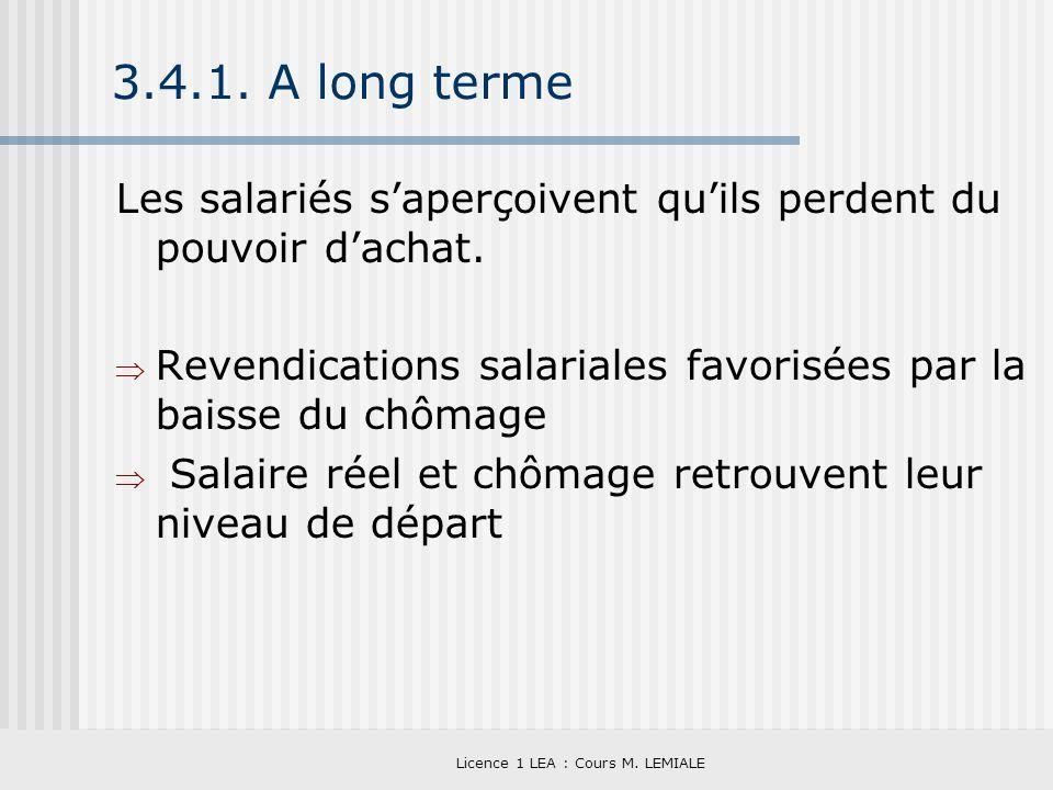 Licence 1 LEA : Cours M. LEMIALE 3.4.1. A long terme Les salariés saperçoivent quils perdent du pouvoir dachat. Revendications salariales favorisées p