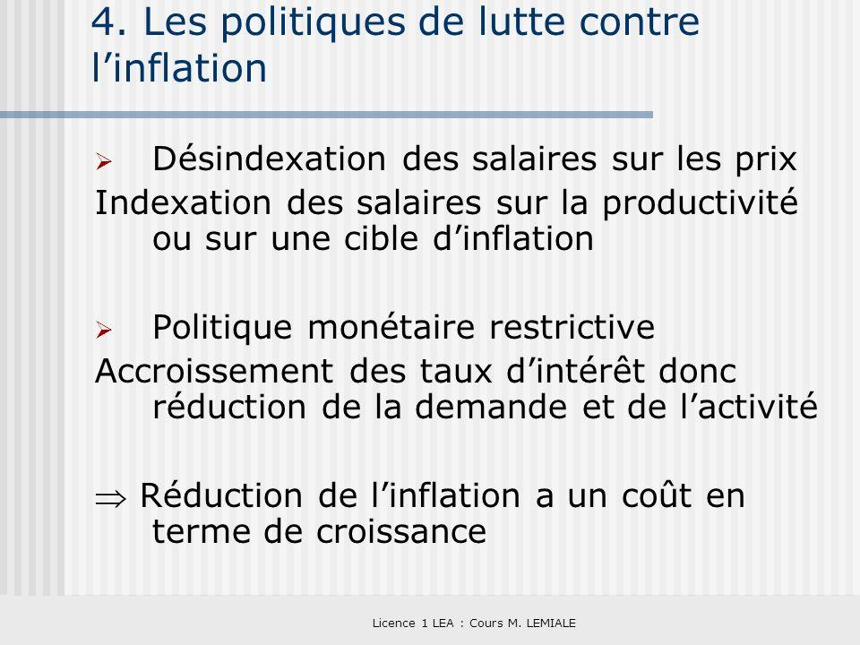 Licence 1 LEA : Cours M. LEMIALE 4. Les politiques de lutte contre linflation Désindexation des salaires sur les prix Indexation des salaires sur la p