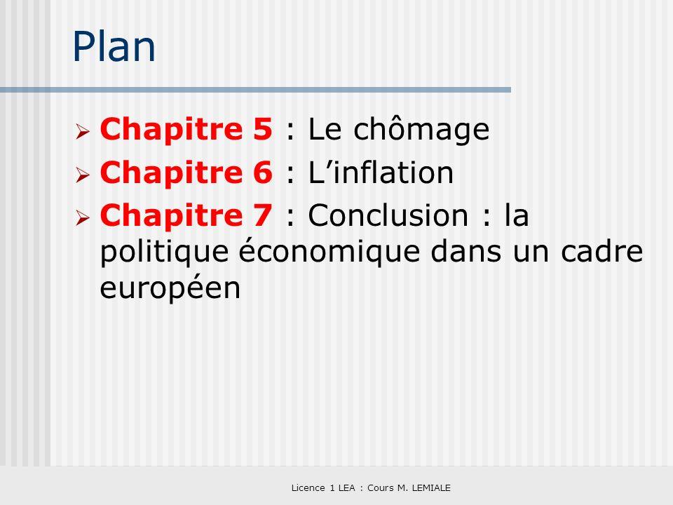 Licence 1 LEA : Cours M. LEMIALE Plan Chapitre 5 : Le chômage Chapitre 6 : Linflation Chapitre 7 : Conclusion : la politique économique dans un cadre