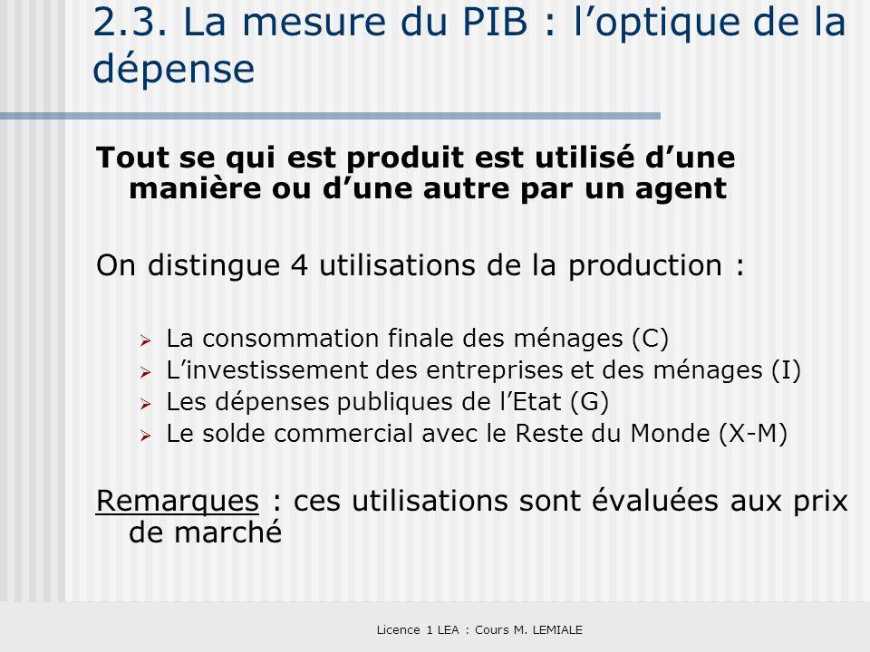 Licence 1 LEA : Cours M. LEMIALE 2.3. La mesure du PIB : loptique de la dépense Tout se qui est produit est utilisé dune manière ou dune autre par un