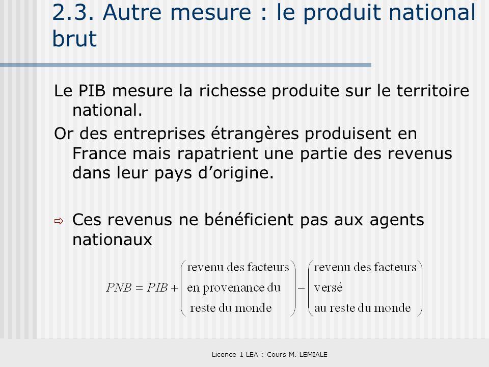 Licence 1 LEA : Cours M. LEMIALE 2.3. Autre mesure : le produit national brut Le PIB mesure la richesse produite sur le territoire national. Or des en