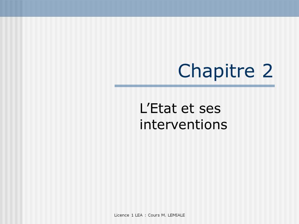 Licence 1 LEA : Cours M. LEMIALE Chapitre 2 LEtat et ses interventions