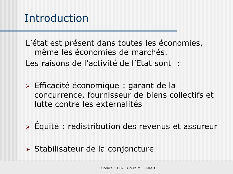 Licence 1 LEA : Cours M. LEMIALE Introduction Létat est présent dans toutes les économies, même les économies de marchés. Les raisons de lactivité de