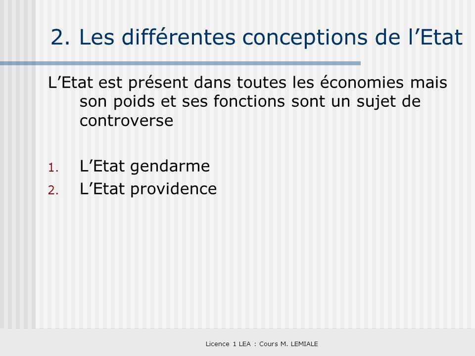 Licence 1 LEA : Cours M. LEMIALE 2. Les différentes conceptions de lEtat LEtat est présent dans toutes les économies mais son poids et ses fonctions s