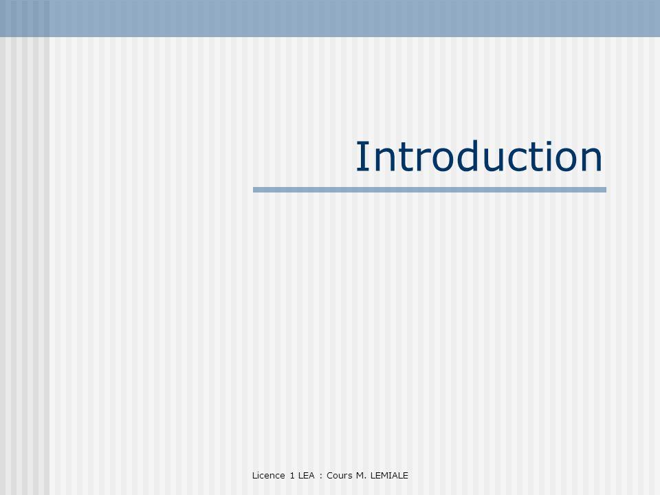 Licence 1 LEA : Cours M. LEMIALE Introduction