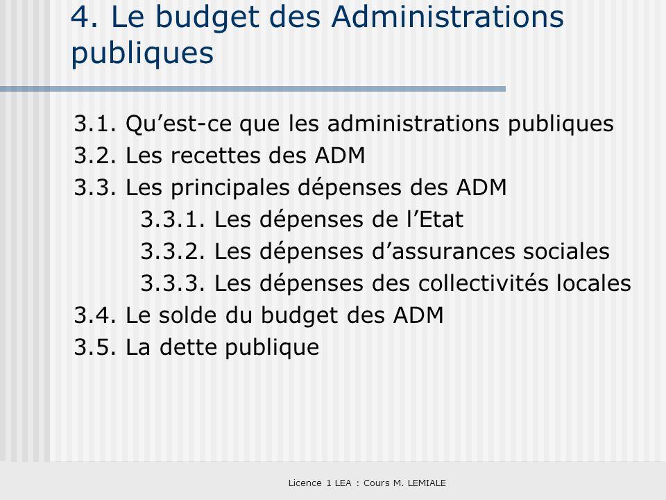 Licence 1 LEA : Cours M. LEMIALE 4. Le budget des Administrations publiques 3.1. Quest-ce que les administrations publiques 3.2. Les recettes des ADM