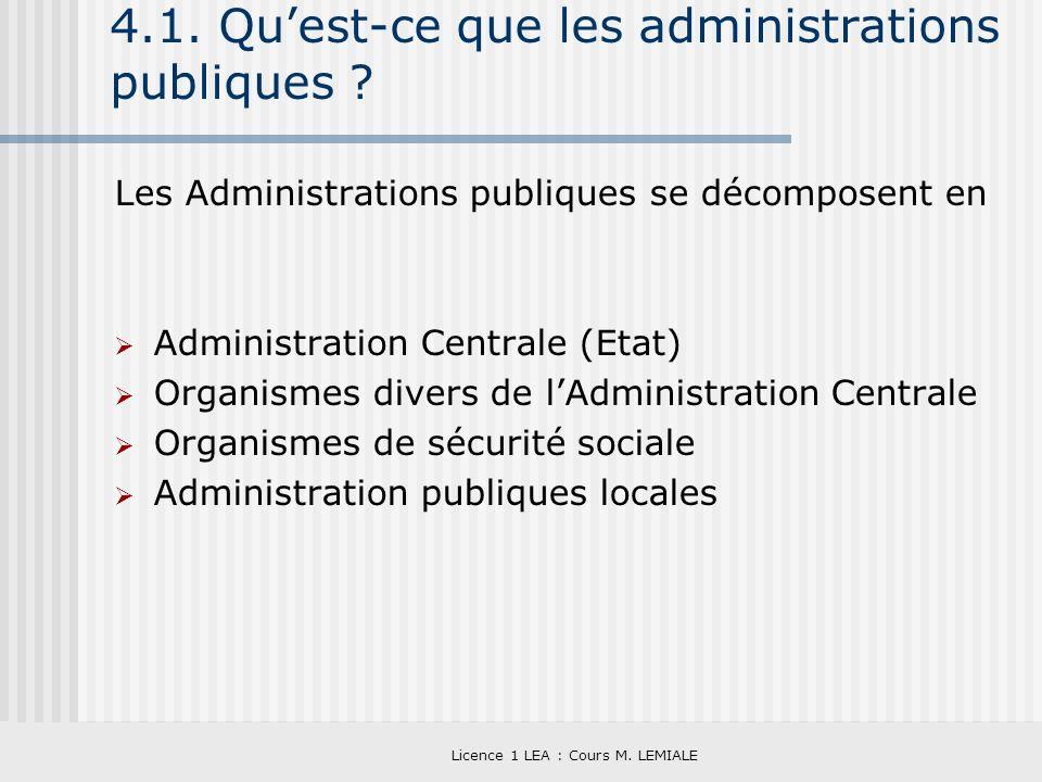 Licence 1 LEA : Cours M. LEMIALE 4.1. Quest-ce que les administrations publiques ? Les Administrations publiques se décomposent en Administration Cent