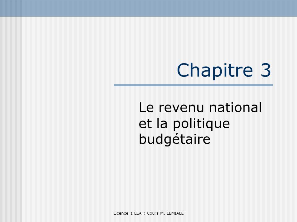 Licence 1 LEA : Cours M. LEMIALE Chapitre 3 Le revenu national et la politique budgétaire