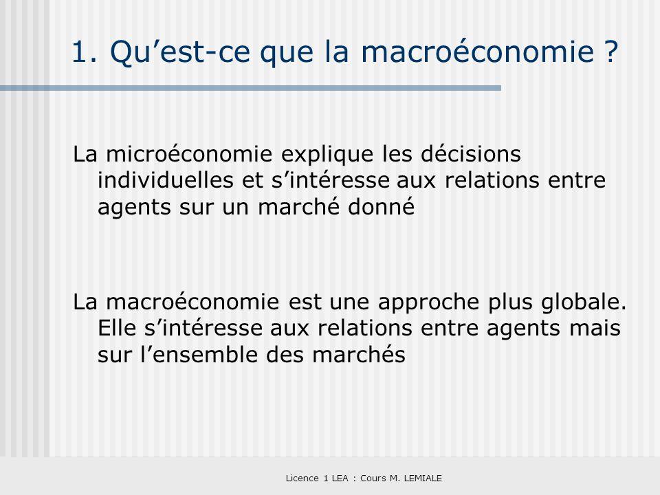 Licence 1 LEA : Cours M. LEMIALE 1. Quest-ce que la macroéconomie ? La microéconomie explique les décisions individuelles et sintéresse aux relations