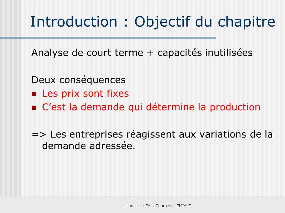 Licence 1 LEA : Cours M. LEMIALE Introduction : Objectif du chapitre Analyse de court terme + capacités inutilisées Deux conséquences Les prix sont fi