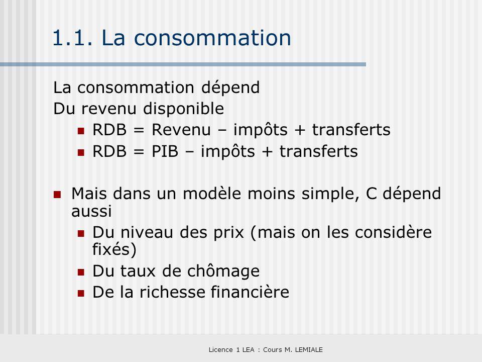 Licence 1 LEA : Cours M. LEMIALE 1.1. La consommation La consommation dépend Du revenu disponible RDB = Revenu – impôts + transferts RDB = PIB – impôt