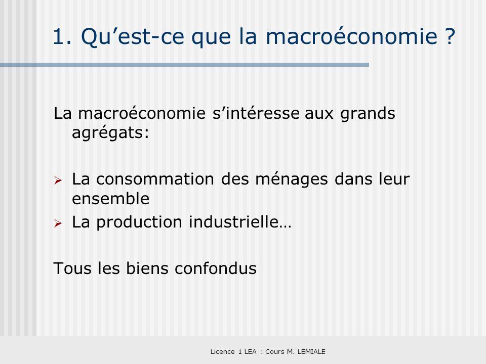 Licence 1 LEA : Cours M. LEMIALE 1. Quest-ce que la macroéconomie ? La macroéconomie sintéresse aux grands agrégats: La consommation des ménages dans
