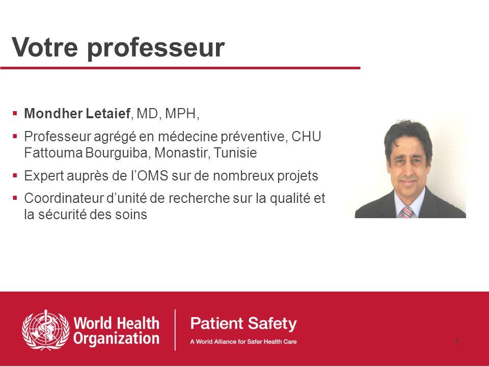 Principes de la Recherche sur la sécurité des patients: vue densemble Mondher Letaief, MD, MPH 27 janvier 2011 Recherche sur la Sécurité des patients