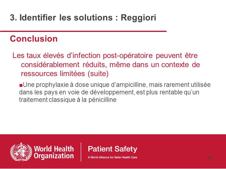 41 Conclusions Les taux dinfection post-opératoire dans les pays en voie de développement sont souvent sous-estimés et non documentés Les taux élevés