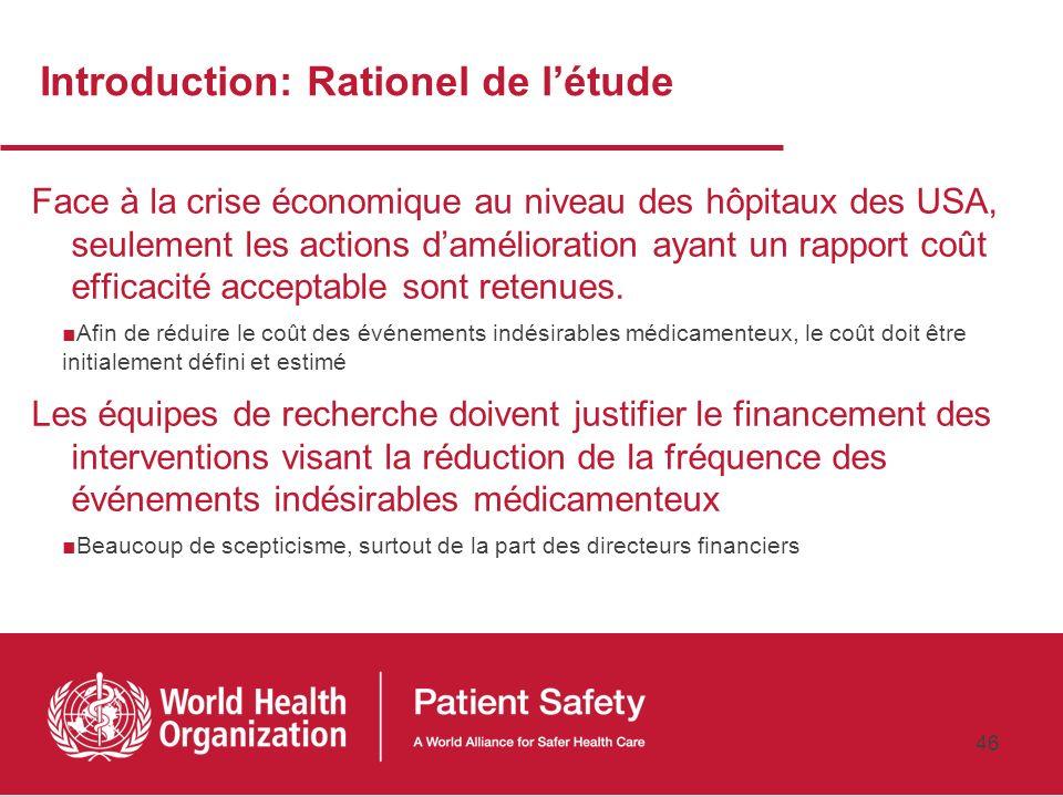 45 Evaluation de limpact : Détails de létude Référence complète Bates DW, Spell N, Cullen DJ, et al. The costs of adverse events in hospitalized patie
