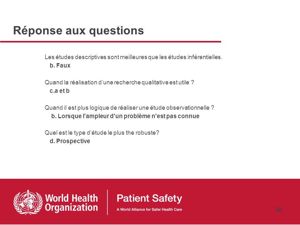 57 Conclusions 5 domaines clés dans la recherche pour la sécurité des patients La sélection du type d'études dépendra du domaine Dépendra également de