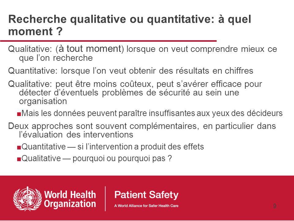 8 Recherche qualitative vs. quantitative QualitativeQuantitative A pour but une description complète, détaillée Vise au comptage des caractéristiques