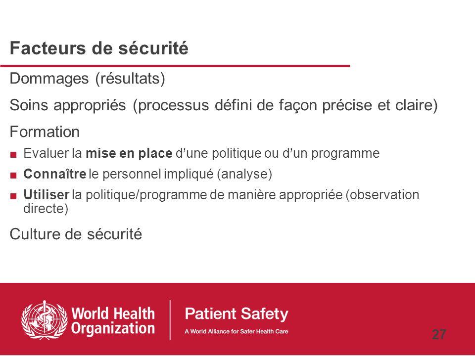 26 Interventions pour améliorer la sécurité des soins Nous avons encore beaucoup de choses à apprendre au sujet des interventions efficaces qui permet