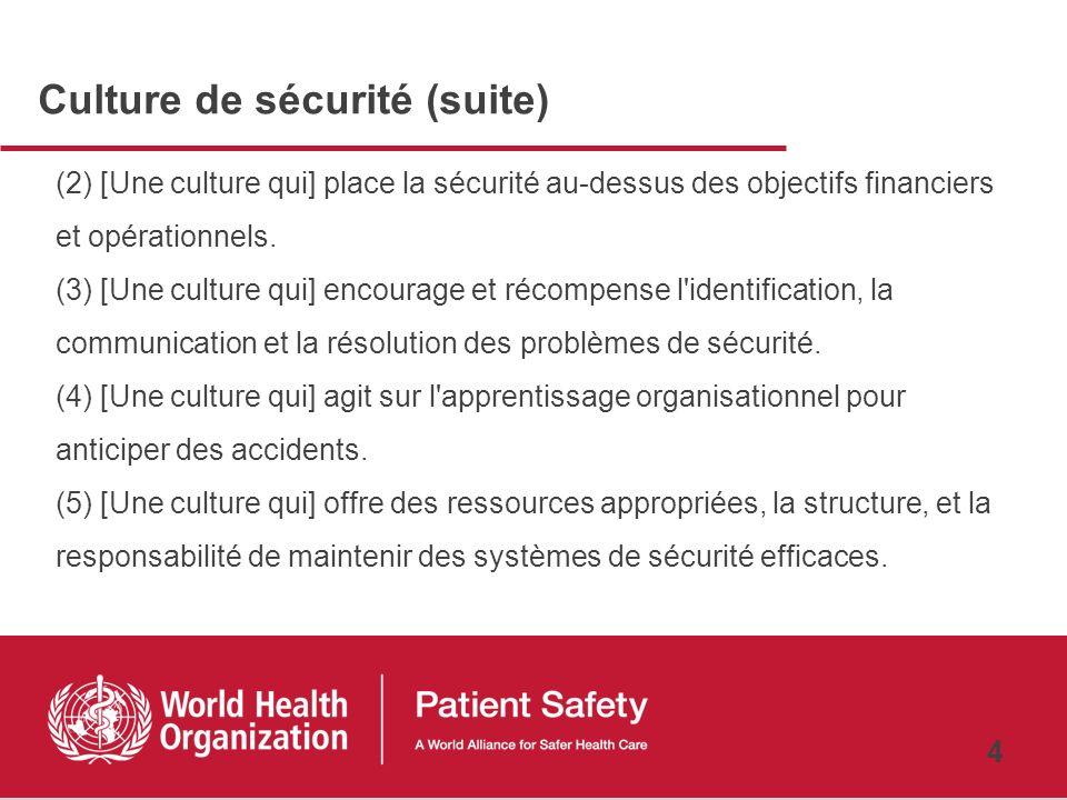 3 Culture de sécurité …Présente les cinq principaux attributs mentionnés ci-dessous, que les professionnels de santé s'efforcent de concrétiser par la