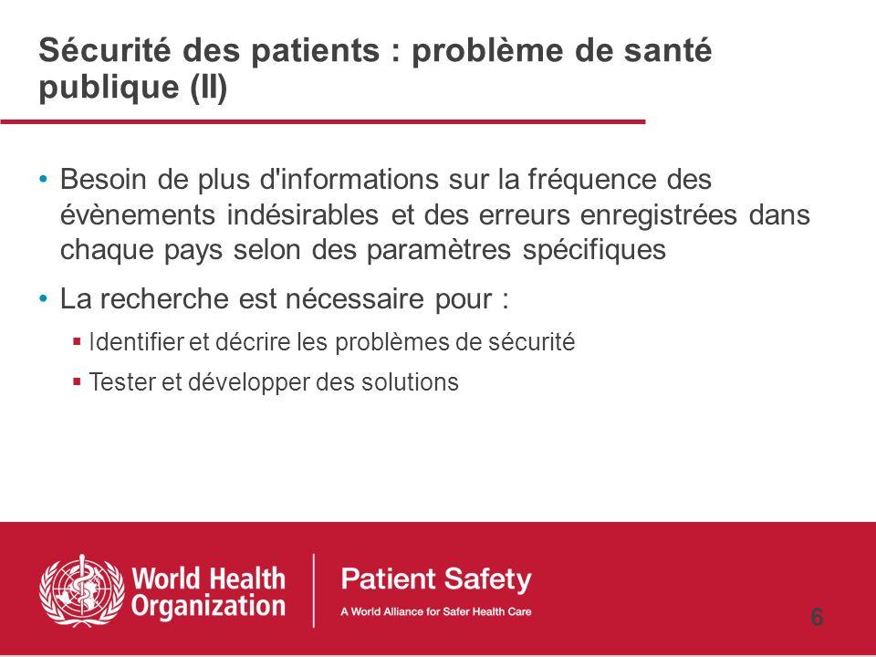 5 Sécurité des patients : problème de santé publique (I) La sécurité des patients semble être un problème dans tous les pays Il est important de satta