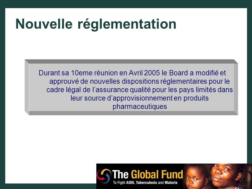 Nouvelle réglementation Durant sa 10eme réunion en Avril 2005 le Board a modifié et approuvé de nouvelles dispositions réglementaires pour le cadre lé