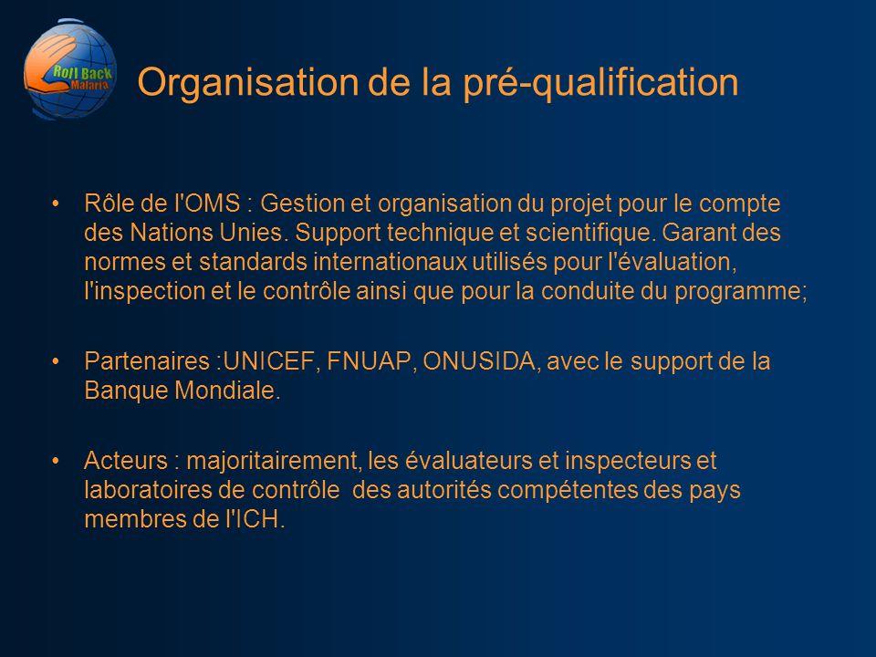 Organisation de la pré-qualification Rôle de l'OMS : Gestion et organisation du projet pour le compte des Nations Unies. Support technique et scientif