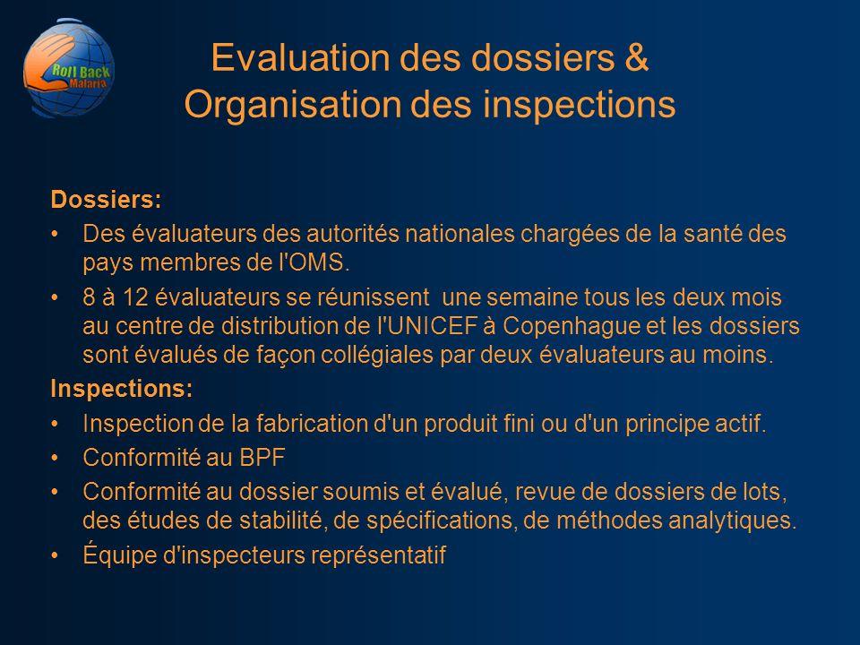 Evaluation des dossiers & Organisation des inspections Dossiers: Des évaluateurs des autorités nationales chargées de la santé des pays membres de l'O