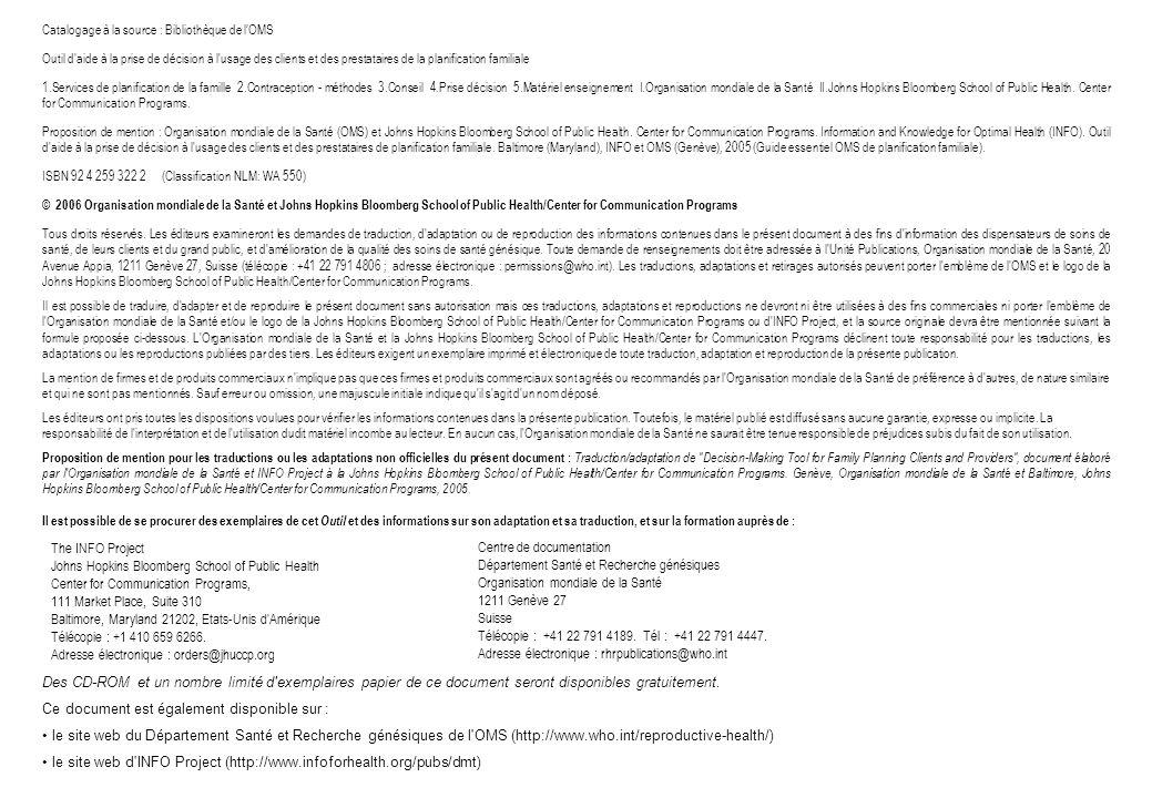 Catalogage à la source : Bibliothèque de lOMS Outil d'aide à la prise de décision à l'usage des clients et des prestataires de la planification famili