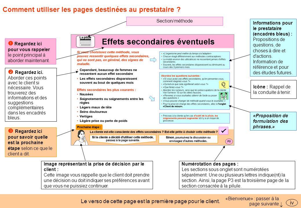 Comment utiliser les pages destinées au prestataire ? Le verso de cette page est la première page pour le client. «Bienvenue» : passer à la page suiva
