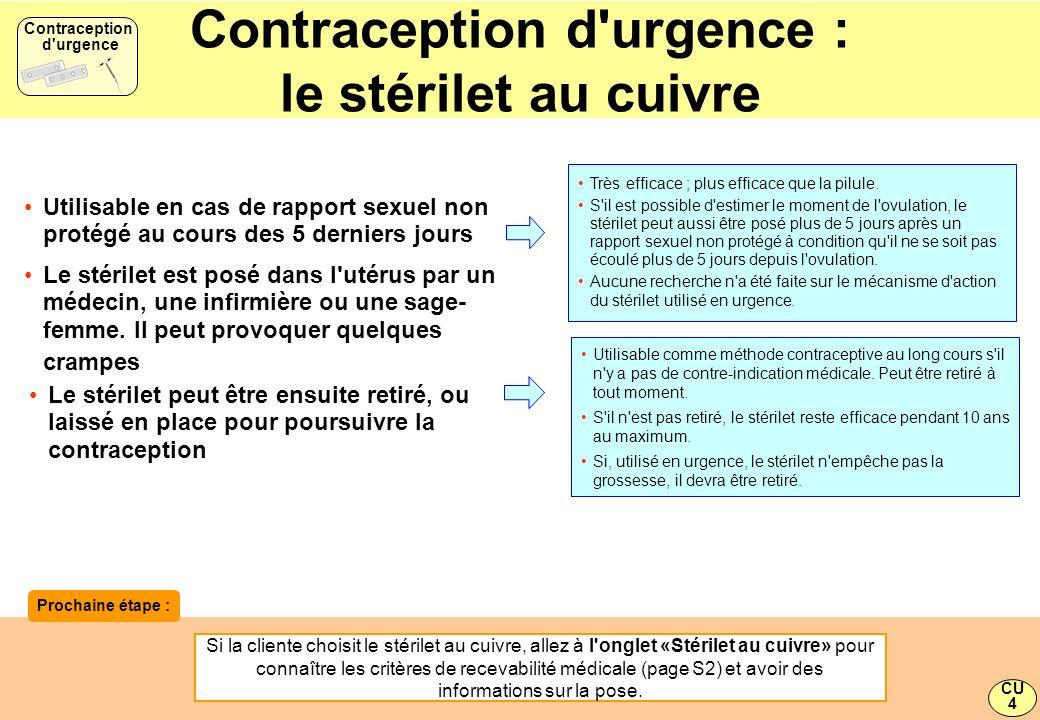 Contraception d'urgence : le stérilet au cuivre Utilisable comme méthode contraceptive au long cours s'il n'y a pas de contre-indication médicale. Peu