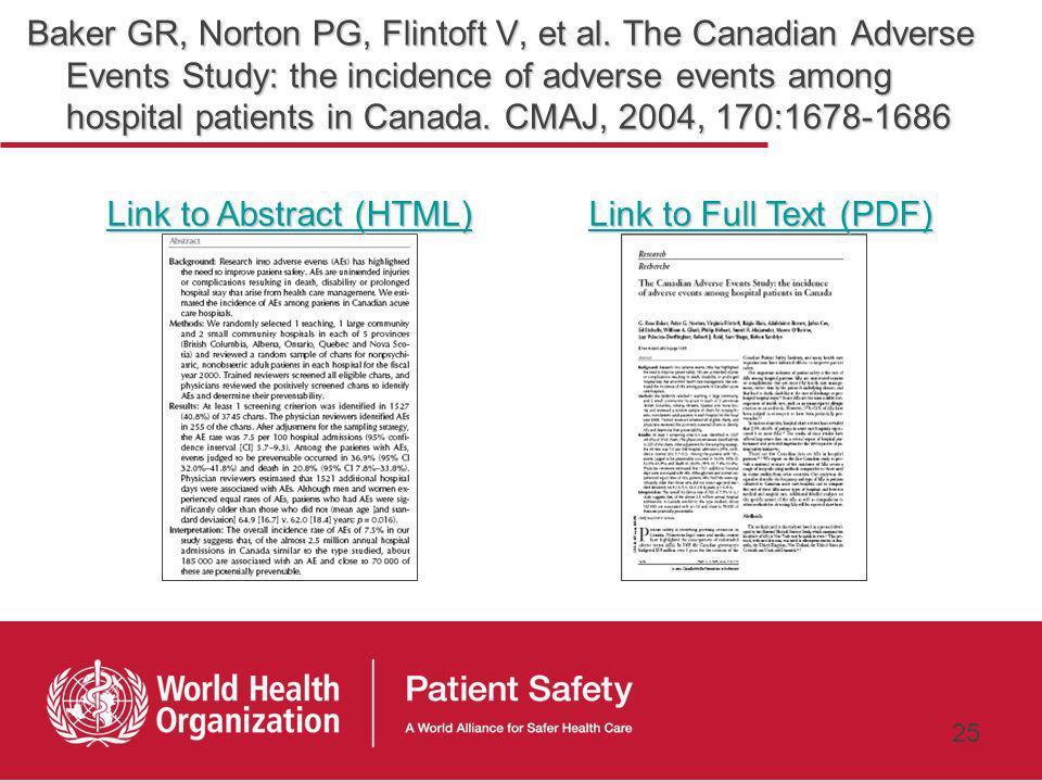 24 Ross Baker Analyse rétrospective de dossiers hospitaliers pour identifier les événements indésirables et évitables au Canada