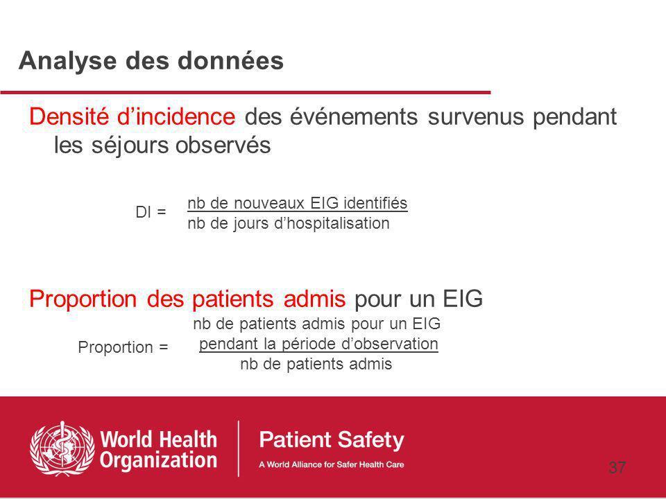 36 EIG inclus La fenêtre dobservation : une fenêtre de 7 jours Tous les séjours des patients présents ou entrants dans la période dobservation