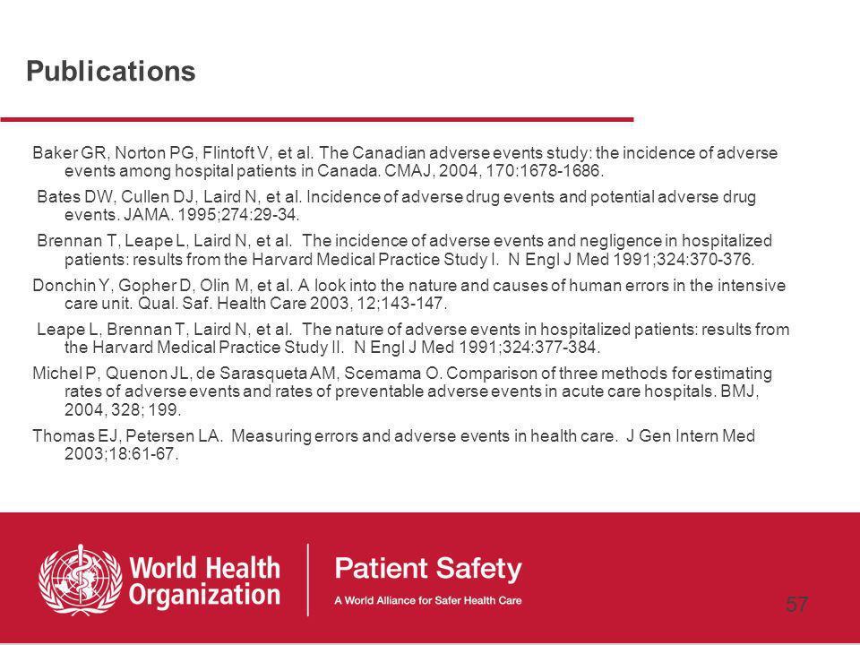 56 Introduction à la Recherche sur la Sécurité des Patients Arguments en faveur de la Recherche sur la sécurité des patients