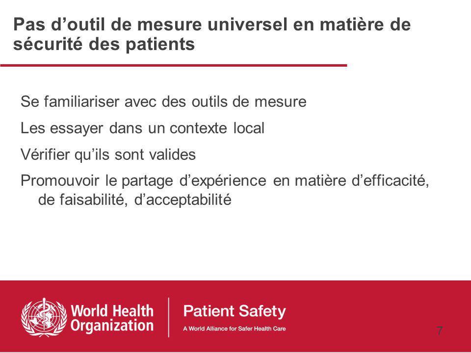 6 Pourquoi mesurer ? Identification des risques associés aux soins Priorisation des risques Maîtrise des risques (mise en œuvre des actions) +++ Place