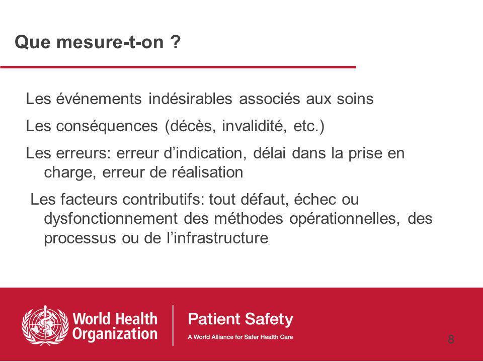 7 Pas doutil de mesure universel en matière de sécurité des patients Se familiariser avec des outils de mesure Les essayer dans un contexte local Vérifier quils sont valides Promouvoir le partage dexpérience en matière defficacité, de faisabilité, dacceptabilité